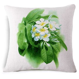 Elegant Plumeria Rubra Print Square Throw Pillow