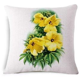 Charming Abelmoschus Manihot Print Square Throw Pillow