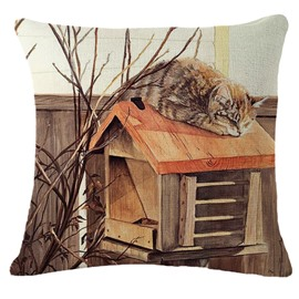 Funny Kitty on the Mini House Roof Print Throw Pillow