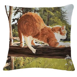 Naughty Cinnamon and White Kitty Print Throw Pillow