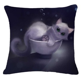 White Kitty In A Bowl Print Throw Pillow