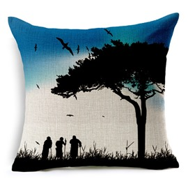 Silhouette People Standing Under Large Tree Print Throw Pillow