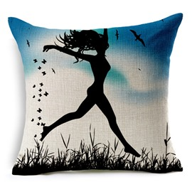 Stylish Dance Girl Print Square Throw Pillow