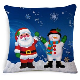 Cute Santa Claus and Christmas Snowman Print Blue Throw Pillow