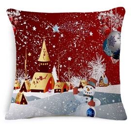 Lovely Christmas Snowman Print Decorative Throw Pillow