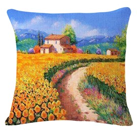 Beautiful Sunflower Field and Cottage Print Throw Pillow