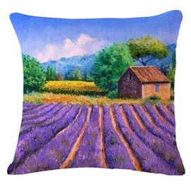 Attractive Cabin and Field of Lavender Print Throw Pillow