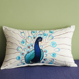 Noble Peacock Embroidery PP Cotton Decorative Throw Pillow