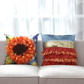 Beautiful Sunflower Applique PP Cotton Decorative Throw Pillow