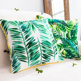 Fabulous Tropical Green Leaves Print Throw Pillow