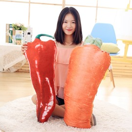 Lifelike 3D Carrot and Red Chili Design Throw Pillow
