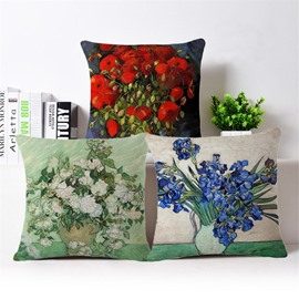 Beautiful Floral Design PP Cotton Square Throw Pillow