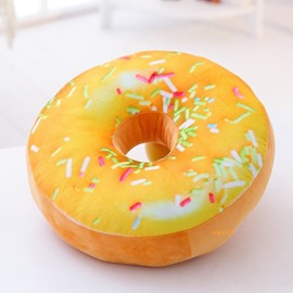 Donut Design Yellow Round-shaped Plush Throw Pillow