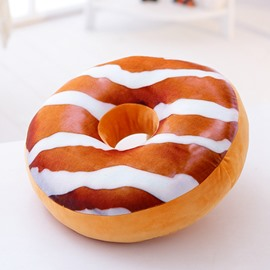 Donut Design Chocolate Round-shaped Plush Throw Pillow