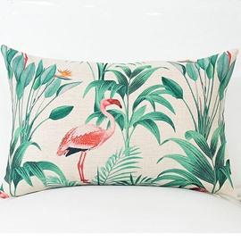 A Pink Flamingo and Tropical Plants Pattern Lumbar Pillow