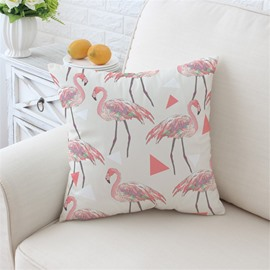 Lovely Pink Flamingos Pattern White Plush Throw Pillow
