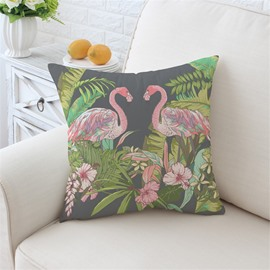 A Pair Flamingos and Colorful Flowers Pattern Plush Throw Pillow