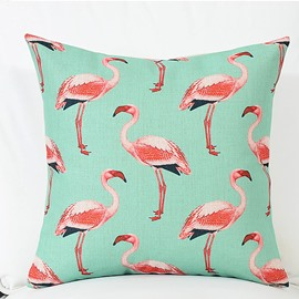 Various Lovely Flamingos Pattern Green Linen Throw Pillow