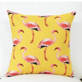 Various Lovely Flamingos Pattern Yellow Linen Throw Pillow