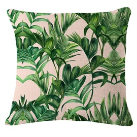 Hand-Painted Tropical Leaves Foliage Design Beige Linen Throw Pillow