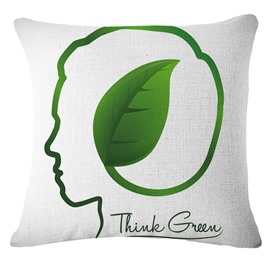Creative Thinking Brain and Leaf Pattern White Linen Throw Pillow