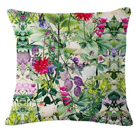 Blooming Flowers Hand-Painted Linen Throw Pillow