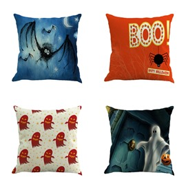 Happy Halloween Ghost Pumpkin and Spider Pattern Square Linen Decorative Throw Pillows