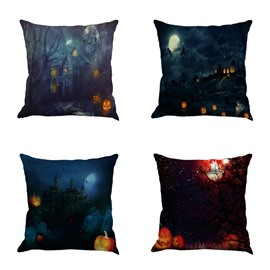 Happy Halloween and Pumpkin Dark Night Pattern Square Linen Decorative Throw Pillows
