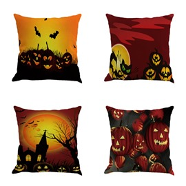 Halloween Pumpkin Pattern Square Linen Decorative Throw Pillows