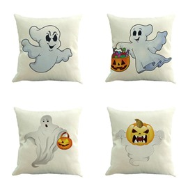 Halloween White Ghost and Pumpkin Pattern Square Linen Decorative Throw Pillows