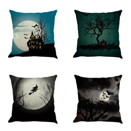 Happy Halloween Festival Pumpkin and Bat Pattern 18x18in Cotton Line Decorative Throw Pillow