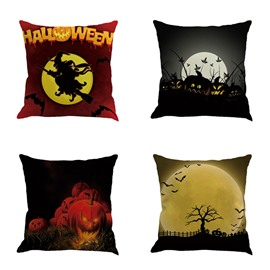 Pumpkin and Bat Pattern Happy Halloween Festival Square Cotton Line Decorative Throw Pillow