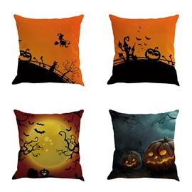 Happy Halloween Festival Buildings and Moon Bat Square Cotton Line Decorative Throw Pillow
