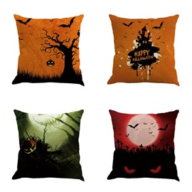 Happy Halloween Festival Pumpkin and Moon Bat Square Cotton Line Decorative Throw Pillow