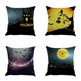 Happy Halloween Festival Pumpkin and Moon Pattern 18x18in Cotton Line Decorative Throw Pillow