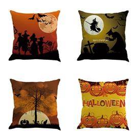 Halloween Festival Pumpkin and Moon Square Cotton Linen Decorative Throw Pillows