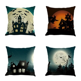 Halloween Party Moonlight Buildings and Bat Square Cotton Linen Decorative Throw Pillows
