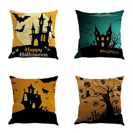 18x18in Happy Halloween Bat and Buildings Moon Square Cotton Linen Decorative Throw Pillows
