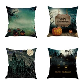 Happy Halloween 18x18in Bat and Pumpkin Square Cotton Linen Decorative Throw Pillows