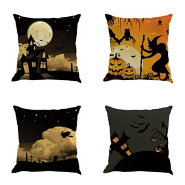 Halloween Pumpkin Black Home Square Linen Decorative Throw Pillows