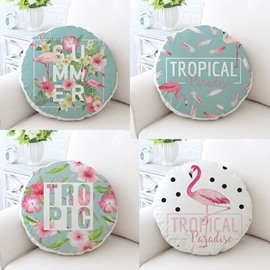 Flamingos and Tropical Plants Pattern Fresh Style Cotton Round Cushion/Throw Pillow