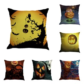 Happy Halloween Pumpkin Lantern Decorative Linen Throw Pillow