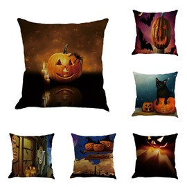 Pumpkin and Monster Pattern Halloween Square Linen Throw Pillow