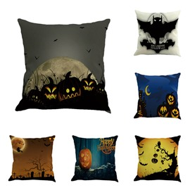 Happy Halloween Pumpkin and Bat Decorative Square Linen Throw Pillow