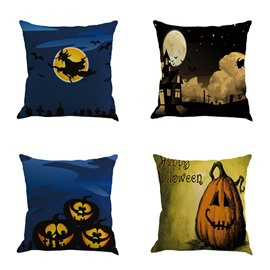 Happy Halloween Carnival Pumpkin and Wizard Decorative Square Linen Throw Pillow