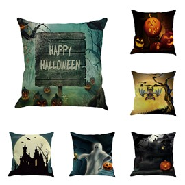 18x18in Happy Halloween Elements Square Cotton Linen Decorative Throw Pillows