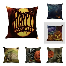 Halloween Festival Skulls or Pumpkin Pattern Decorative Square Linen Throw Pillow