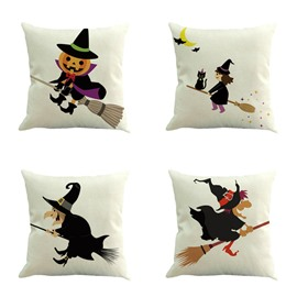 Halloween Decoration Pumpkin Wizard Riding His Broomstick Square Linen Throw Pillow