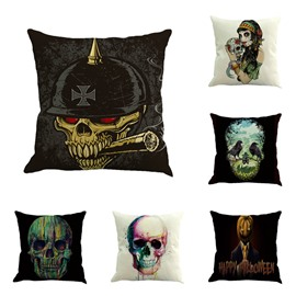Happy Halloween Skulls Pattern Square Linen Throw Pillow