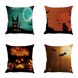 Happy Halloween Pumpkin and Bat Night Sky Square Linen Throw Pillow
